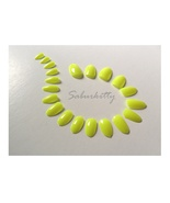 Neon Yellow Nail Art Blanks 40 Count Short manicure artificial fake tips... - $12.00