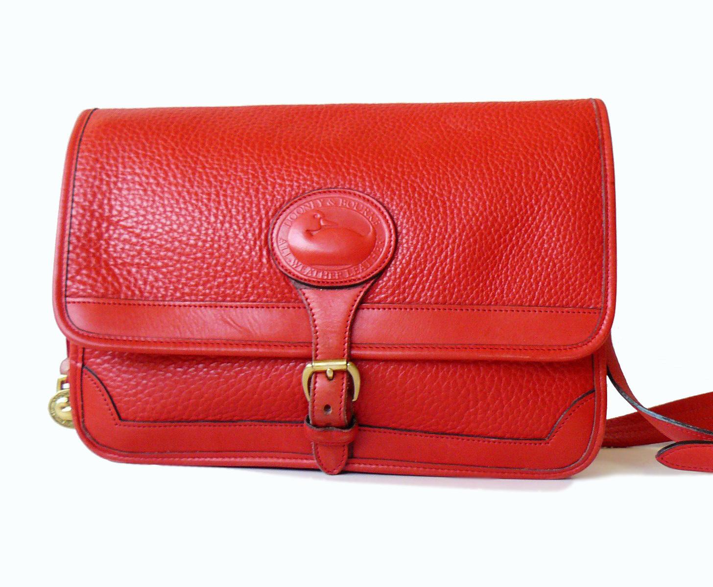 Dooney & Bourke Surrey Watermelon Red AWL Large Messenger Shoulder Bag