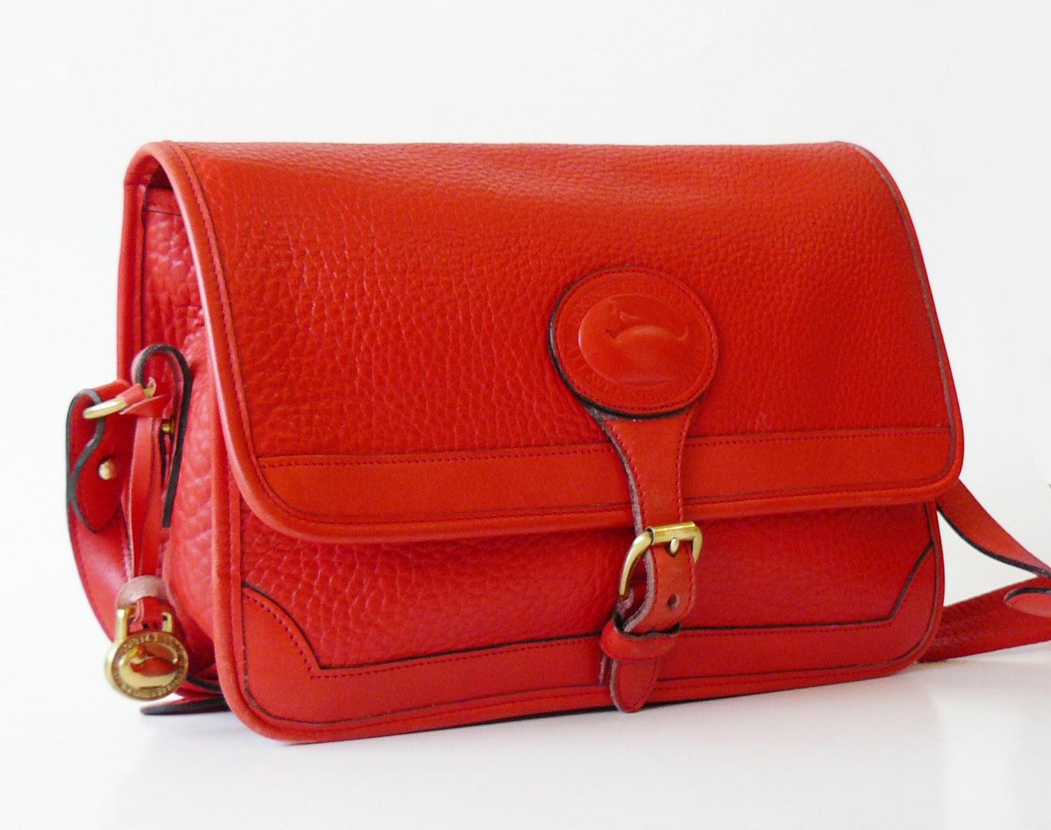 Dooney & Bourke Surrey Watermelon Red AWL Large Messenger Shoulder Bag image 3
