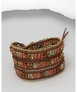 Nakamol / Chan Luu Style ❤ Crystal Beads & Silver Chain Wrap Bracelet on Cotton  - $39.99