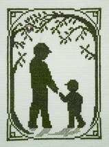 A Walk With Dad Summer Memories Silhouette with charm cross stitch Handblessings - $5.00
