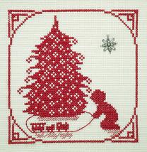 Christmas Memories Silhouette Train Under Tree charm cross stitch Handblessings - $5.00