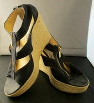 Women's Michael Kors Black Wedge Heel Front Zip Espadrilles Size 8 - $24.75
