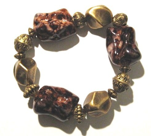 BR13 Chunky Trendy Gold Brownish Red Bead Stretch Bracelet  AFT