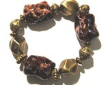 Br13 brownish red and gold chunky stretch bracelet thumb155 crop