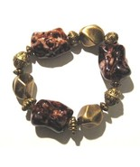 BR13 Chunky Trendy Gold Brownish Red Bead Stret... - $4.99