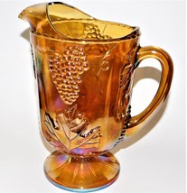 Indiana Iridescent Carnival Glass Marigold Harvest Grape Footed Pitcher ... - $59.39