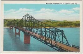 Missouri River Bridge Jefferson City Missouri MO Postcard Curt Teich Unused - $2.99