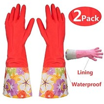 Kitchen Rubber Cleaning Gloves with Lining Household Thickening PU Water... - $10.69