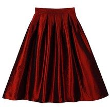 Women Pink Full Pleated Party Skirt A Line High Waist Knee Length Taffeta Skirt  image 3