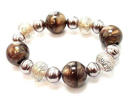 Br27 marble lucite bead bracelet