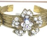 Br31 antique gold cz crystal flower cuff bracelet thumb155 crop