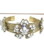 Sparkling Crystal Flower Antique Gold Wire Bracelet BR31 - $14.99