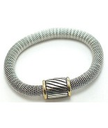Trendy Magnetic Fastening Barrel Silver Mesh Bracelet BR33 - $9.99