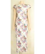 Misty Lane dress Made for Memories SZ 8 vintage floral train bow plunge ... - $39.59