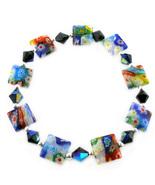 Square Murano Glass Flower Stretch Bracelet BR38 - $4.99