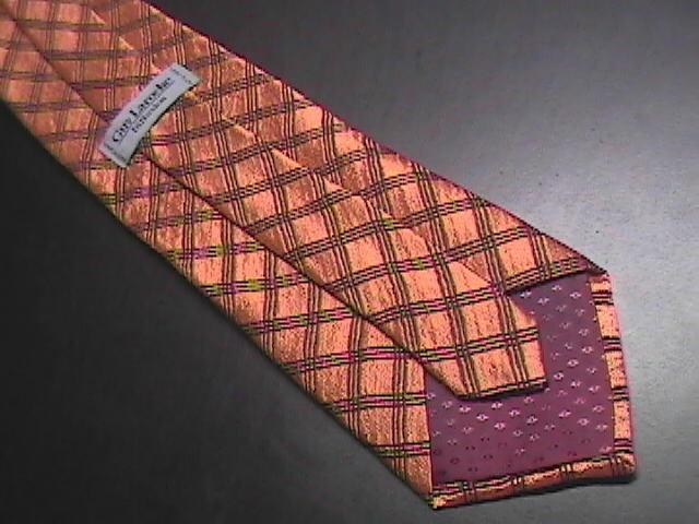Guy Laroche Diffusion Neck Tie Orangish Golden Browns Criss Cross Stripes Silk