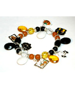 Halloween Charms and Beads Stretch Bracelet BR42 - $4.99