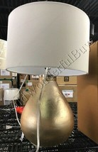 Pottery Barn Lyon Table Lamp Metallic Gold Accent Light Textured NIB - £121.99 GBP