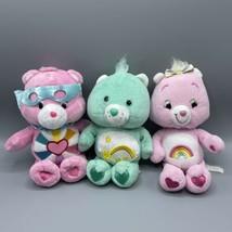 "Lot of 3 Care Bears 8"" Wish Bear 9"" Cheer Bear 8"" Hopeful Heart Bear W/ Mask - $17.81"