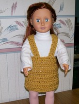 American Girl Crocheted Gold Jumper, Handmade, OOAK, 18 Inch Doll - $22.00