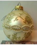 Ball Ornament Pearl White Gold Glitter Floral Vintage Christmas Decoration - $12.82