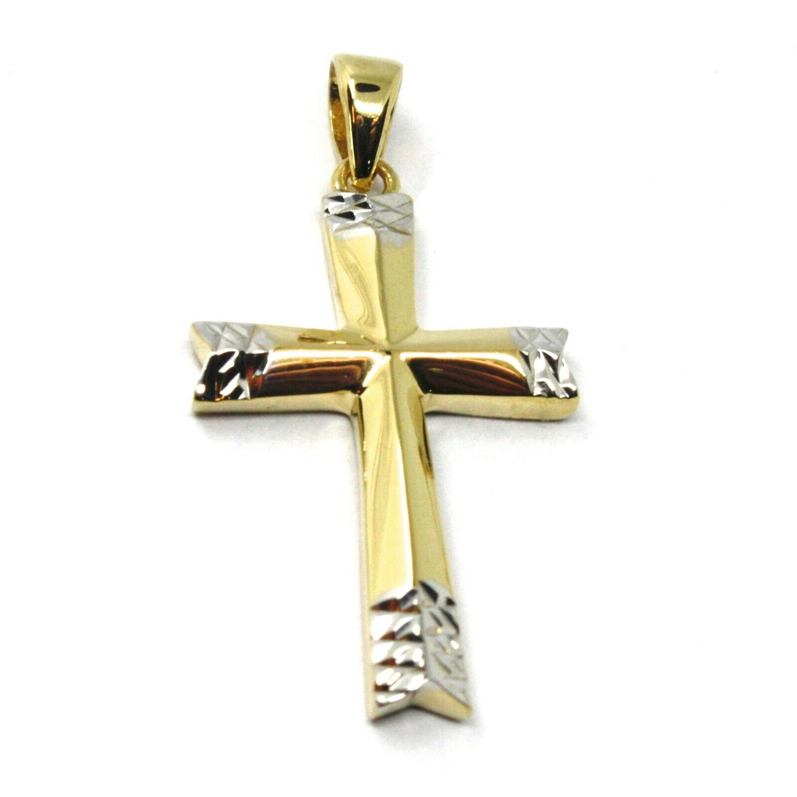 18K YELLOW WHITE GOLD CROSS, BICOLOR SMOOTH, HAMMERED, 2.4cm 0.94 inches