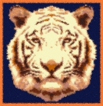Latch Hook Rug Pattern Chart: Tiger Mascot - EMAIL2u - $5.75