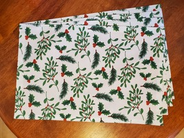 Christmas Placemats, Set of 4 Fabric Place Mats, Holly Mistletoe Red Green White image 2