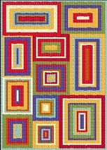 Latch Hook Rug Pattern Chart: Colorful Rectangles - EMAIL2u - $5.75