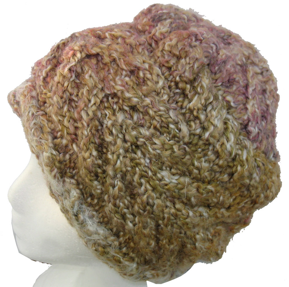 Primary image for Super Warm Hand Knit Hat in Brown and Pink