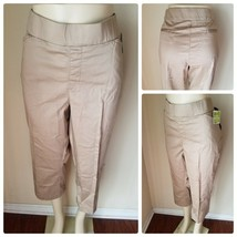 Lee Natural Fit Capri Pants Women's Khaki Waist Smoothing Stretch Cropped 18 M - $42.77
