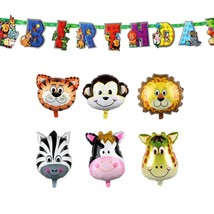 6pcs Animal Balloons and 1pc Banner Birthday Party Decorations Kids Baby... - $12.86