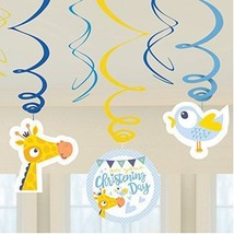 6 Blue Boys Baby On Your Christening Day Party Hanging Swirl Decorations - $3.82