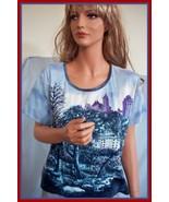 L MIRROR IMAGE  T Tee Shirt Pullover SHORT Slv Top BEADED BLUE CITY PARK... - $14.99