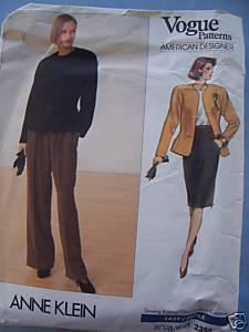 Vintage VOGUE Anne Klein Jacket/Skirt/Pants Sz 12-16 Bonanza