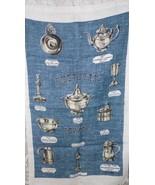 """VINTAGE LINEN CLOTH KITCHEN TOWEL """"AMERICAN PEWTER"""" SIGNED STRICKLANDS - $9.89"""
