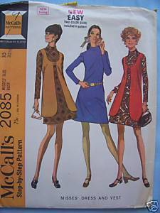 1960's Mod Dress & Vest Vintage Pattern - 10/32 1/2 Bonanza