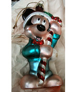 Blown Glass Mickey Mouse Santa w Candy Cane Christmas Ornament* - $12.99