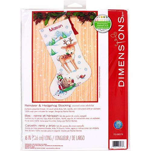 Dimensions Cross Stitch 'Reindeer and Hedgehog' Personalized Christmas Stocking  - $21.25
