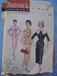 Vintage '50's 2-Pc Suit/Slim Skirt/Fitted Jacket 14/32 Butterick