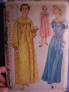 Vintage Pattern Nightgown In 2 Lengths From 1952 - B 30 Bonanza