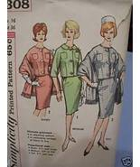 Jackie O Style Suit & Stole 1960's Pattern - Bust 36 - $4.99