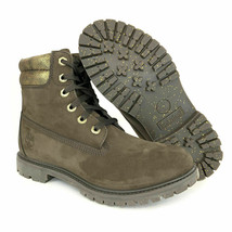 Timberland Women's 6 Inch Double Collar Dark Brown/Gold Leather Boots A1R2I - $79.89