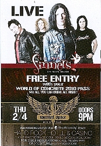 Sinners Live at Hard Rock Hotel Promo Card
