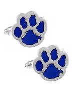 PAW PRINT CUFFLINKS Dog Tiger Bear Cub Blue Enamel Vet Animal Lover w GI... - $9.95