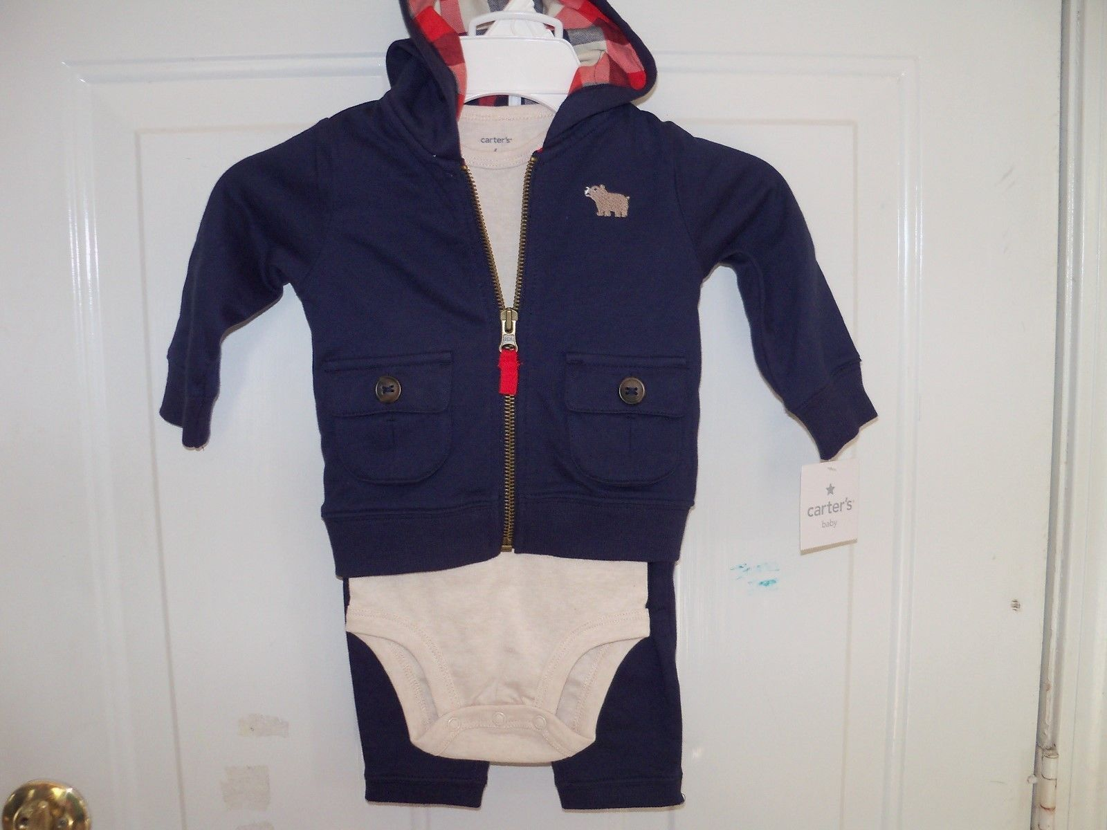 Primary image for Carters  3pc Fall Layette Set Navy Blue Size 6 Months Boy's NEW LAST ONE