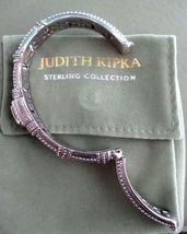 Judith Ripka Sterling Diamonique Textured Hinged Cuff Bracelet Sz AVG Box/Pouch image 7