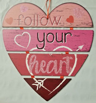 Valentine's Day 4 pt 'Follow Your Heart' Hanging Sign Red Pink Glitter w - $5.99