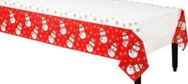 Very Merry Christmas Snowman Paper Table Cover Border Print 54 x 96 inches - £9.08 GBP
